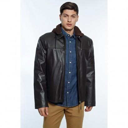 MENS LEATHER JACKET DARK BROWN