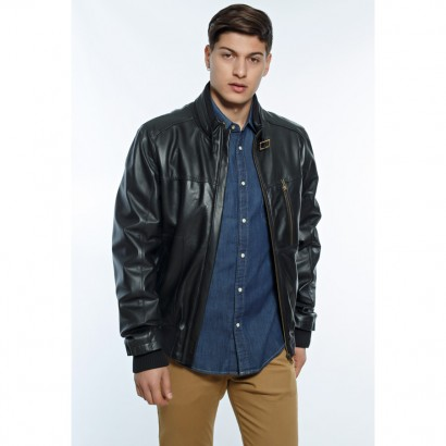 MENS FLY JACKET BLACK LEATHER