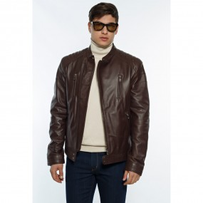 MENS PERFECTO LEATHER  JACKET DARK BROWN