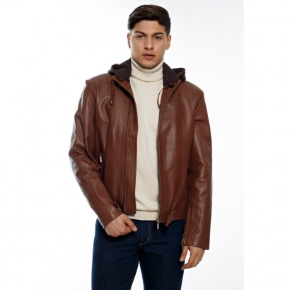 MEN LEATHER JACKET BROWN