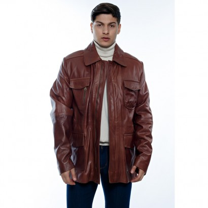 MEN LEATHER JACKET LIGHT BROWN