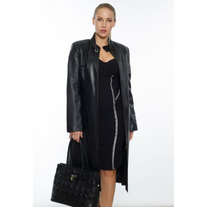 WOMEN LEATHER COAT BLACK