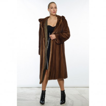 WOMEN MINK/VISON COAT BROWN