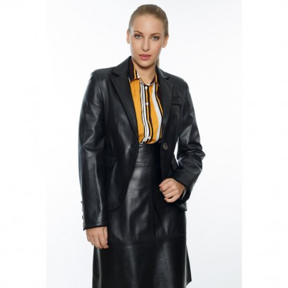 WOMEN LEATHER BLAZER BLACK JOCKEY