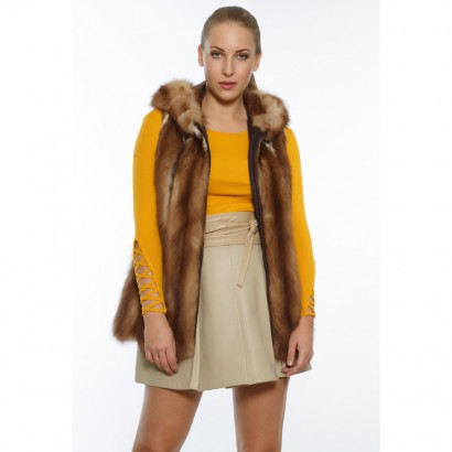 VEST FUR WOMEN LIGHT BROWN