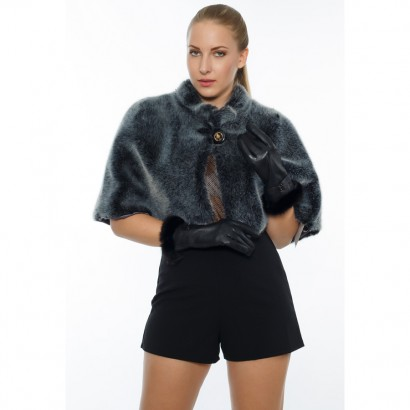 ETOLLE  FAUX FUR CAPE WOMEN SILVER GRAY