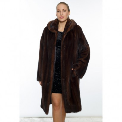 FUR VISON/MINK WOMEN BROWN  COAT