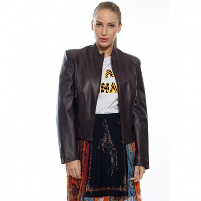 WOMEN LEATHER JACKET BROWN