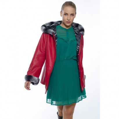 WOMEN LEATHER DOUBLE FACE SHORT COAT RED