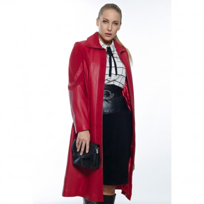 WOMEN LEATHER COAT RED