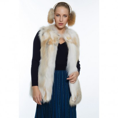 WOMEN FUR VEST WHITE CAMEL