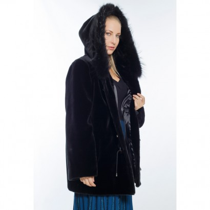 WOMEN BLACK FAUX FUR PARKA